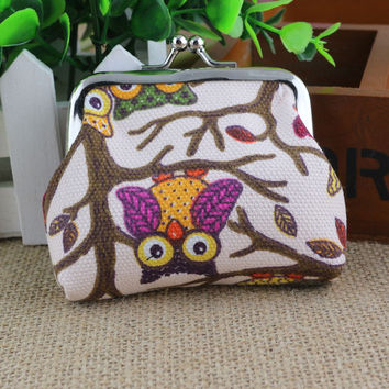 Small Wallet Hasp Owl Purse