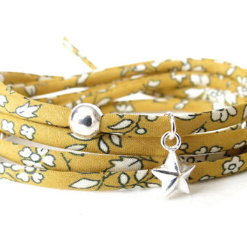 Liberty of London fabric wrap bracelet in mustard, gift idea, 925 Sterling silver beads and star charm