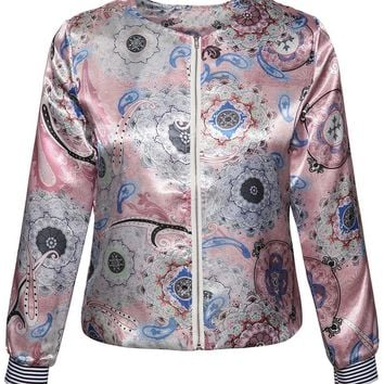 Casual Collarless Zips Paisley Printed Jacket