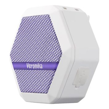Violet small plaid pattern. Add name. White Bluetooth Speaker