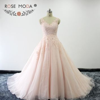 Rose Moda High Quality Blush Pink Peach Wedding Dresses V Neck Lace Ball Gown Vestidos de Noiva