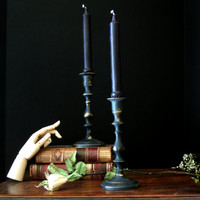 Two Vintage Candle Holders / Black Painted Up Cycled Brass Candlesticks / Candelabra / Brass Candlestick Halloween Decor / Fall Autumn Decor