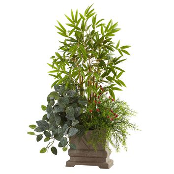 Artificial Plant -38 Inch Mixed Mini Bamboo Fittonia And Springeri With Planter