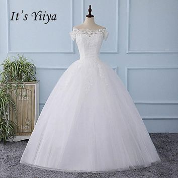 It's YiiYa Illusion Wedding Dress Sequined Simple Tulla Pattern Appliques Brides Wedding Gowns Vestidos De Novia Casamento XL223