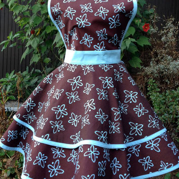 brown and light blue woman's apron in retro 50's diner style