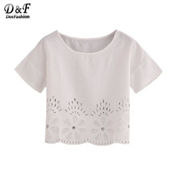Woman Laser-Cut Fit Top Summer Style New Arrival Women Shirt White Hollow Short Sleeve Crew Neck Blouse