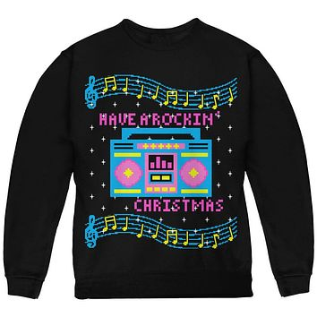 Retro Boombox Music Have a Rockin' Ugly Christmas Sweater Youth Sweatshirt