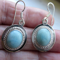 Sterling silver genuine larimar gemstone pierced earrings larimar jewelry CLEARANCE pierced larimar earrings dangle earrings drop earrings