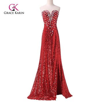 Sexy Evening Dress Grace Karin Red Sparkling Slit Mermaid Prom Dress Long Sequins Formal Evening Gowns Celebrity Dresses 6102