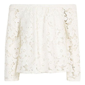 Girls white lace long sleeve bardot top