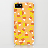 Candy Corn Jumble (light orange background) iPhone & iPod Case by Lisa Argyropoulos