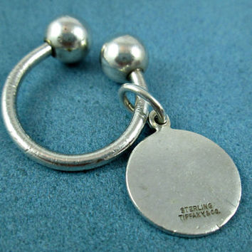 Vintage Tiffany Sterling Silver Key Ring Keychain Lucky Horseshoe Tag Reads Sterling Tiffany & Co. Genuine Authentic Sturdy Strong