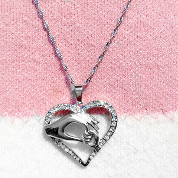 Silver Mother Love Baby Child Heart Necklace and Pendant