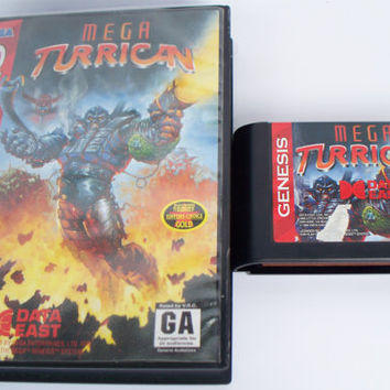 Mega Turrican Sega Genesis USA Video Game Cartridge 1994 Data East Vintage Action Shooter Platformer Play-Tested Works With Original Case