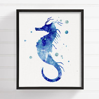 Watercolor Seahorse, Seahorse Art Print, Seahorse Painting, Ocean Art, Coastal Wall Art, Bathroom Decor, Beach Art Print, Nautical Wall Art