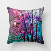 Purple teal forest Throw Pillow by Haroulita | Society6