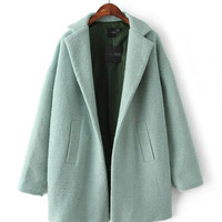Green Notched Collar Non Button Woolen Long Coat