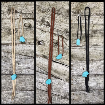 Leather Choker with Turquoise Slab