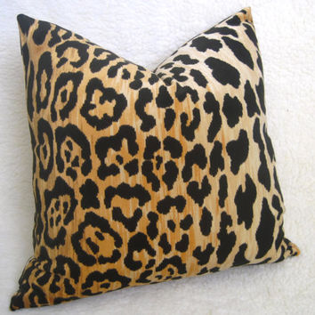 Designer Leopard Velvet Pillow - Gold - 18 inch - BOTH SIDES - Leopard Pillow - Velvet Pillow - Gold Pillow - Decorative Pillow