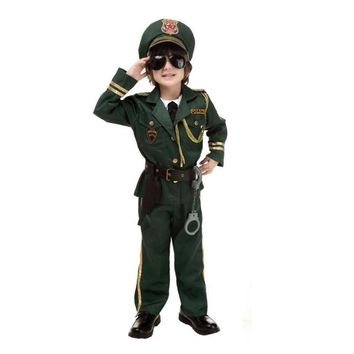 Halloween Party New Arrival Super Police Cosplay Costume For Kids Cute Children Costumes Boy Army Green Police Uniform