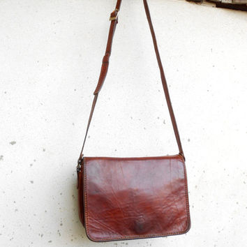 Vintage PIELLE Leather Crossbody Purse , Shoulder , Messenger Bag // Large