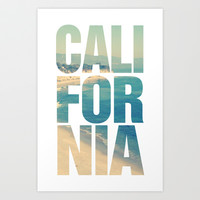 California Vintage Beach Summer Typography Art Print by RexLambo