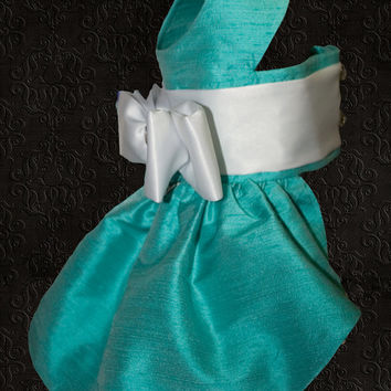 Tiffany, Silk Couture Dog Dress, Tiffany Blue, White Sash and Bow, Crystal