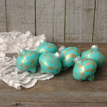Christmas Ornament, Tiffany Blue, Gold, Hand Painted, Shabby Chic, Christmas Decor, Glass, Set of 6