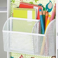 White Magnetic Mesh Organizer Bin | The Container Store