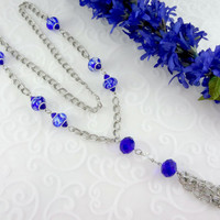 Long blue lampwork chain tassel necklace, statement necklace, swarovski