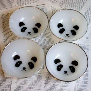 Panda Face silver rimmed bowl set of 4 by geekdetails on Etsy