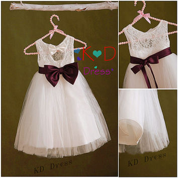 On Special Ivory Lace Keyhole Tulle Flower Girl Dress Children Birthday Party Dress Kids Dress with Plum Sash/Bow
