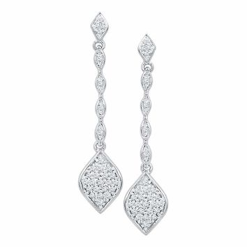 10kt White Gold Women's Round Diamond Cluster Drop Dangle Earrings 1-4 Cttw - FREE Shipping (US/CAN)