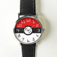 Pokemon Go Art Watch, Pokemon Ball Watch, Men's Watch, Women's Watch, Leather Watch Bands, Silicone Bands, Pokemon Accessories, Jewelry Gift