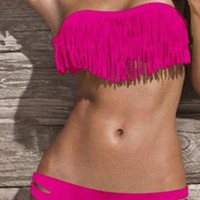 Padded Fringe Bandeau Strapless Bikini Pink 2 Piece Swimsuit from alanchen