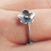 Sterling Silver Oxidized Flower Ring, Dainty Flower Ring, Flower Jewelry, Silver Floral Jewelry, Simple Flower Ring, Cherry Blossom Ring