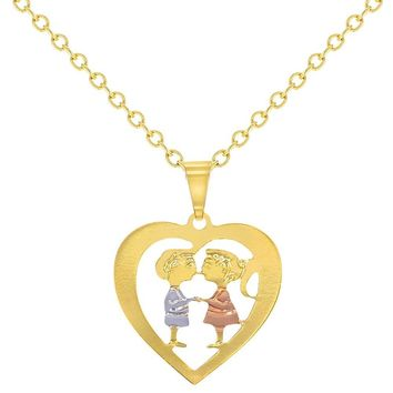 14k Gold Plated Heart Love Kids Sweetheart Couple Pendant Necklace 16""
