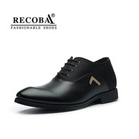 Men shoes casual leather black brown pointed toe dress shoes men increase formal elevated lift shoes for men