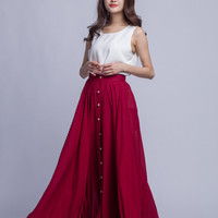 Women's Burgundy Sexy Maxi Skirt Long Furcal Summer Skirt