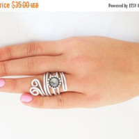 Silver Gold Ring, Jewelry Coins Adjustable Ring, Gold Coin Ring, Statement Ring, Gift For Him Or For Her, Silver Ring, Wire Wrapped Ring,