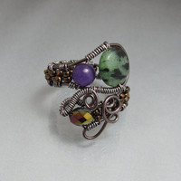 Gemstone Adjustable Wire Wrap Bead Ring