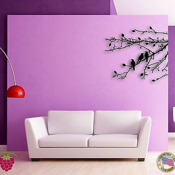 Wall Sticker Branch Leafs Black Birds Floral Decor for Bedroom z1372