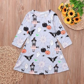 2018 New Toddler Kids Baby Girl Halloween Dress Cartoon Pumpkin Print Long Sleeve Dress Vestidos Spring Fall Clothes