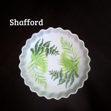 Fern Leaf Quiche Pie Baking Dish Shafford Enchantment Fine Porcelain