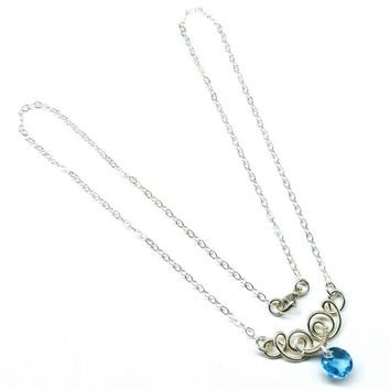 Silver Wire Sculpted Round Crystal Pendant Necklace