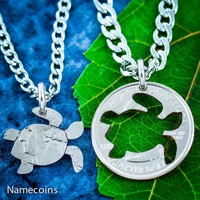 Turtle Jewelry, friendship necklaces, 2 necklaces