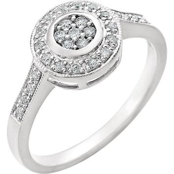 14K White Gold 1/5 CTW Diamond Cluster Style Engagement Ring