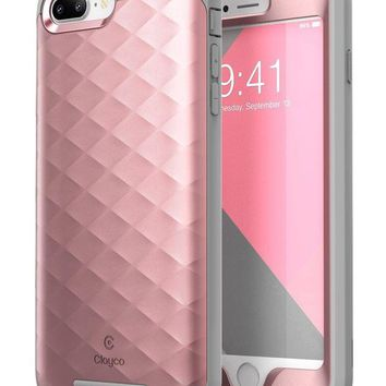 DCK4S2 iPhone 8 Plus Case, Clayco [Hera Series] Full-body Rugged Case with Built-in Screen Protector Compatible with Apple iPhone 7 Plus 2016 / iPhone 8 Plus 2017 (RoseGold)