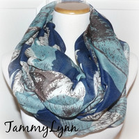 NEW!! Navy Print Floral, Tan, Light Teal Flowers Viscose Scarf Comfy Women's Accessories