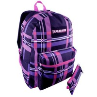 "Trailmaker Classic 17"" Black Pink Purple Striped Plaid Back to School Backpack Pattern with Pencil Case"